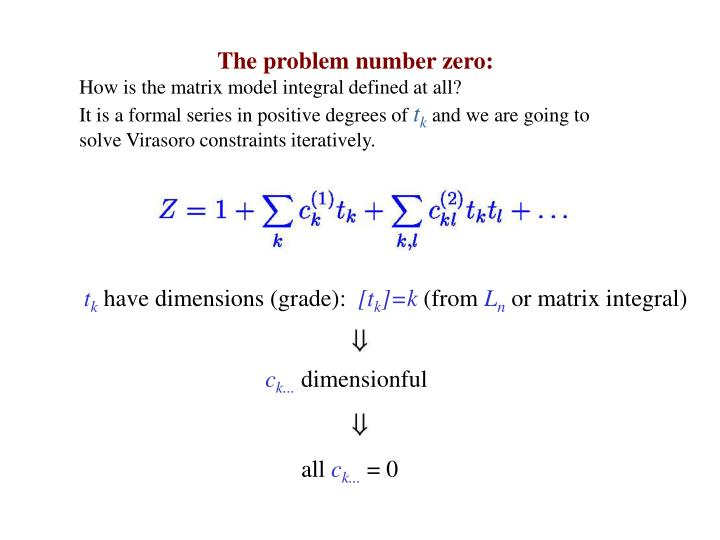 The problem number zero: