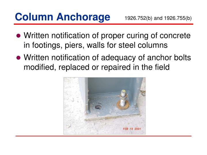 Column Anchorage