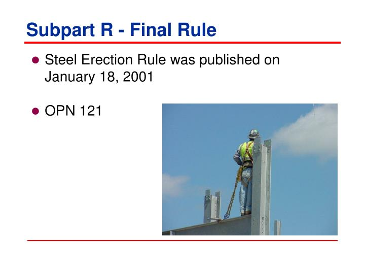 Subpart R - Final Rule