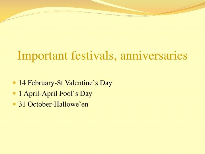Important festivals, anniversaries