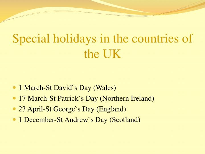 Special holidays in the countries of the UK