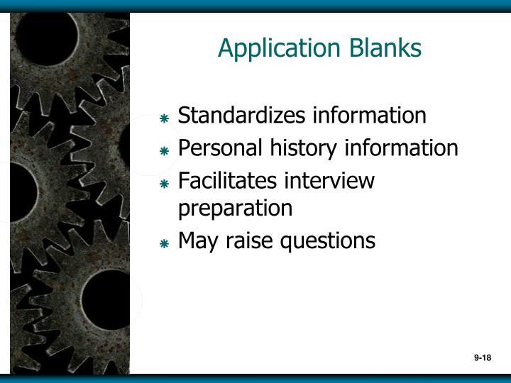 Application Blanks