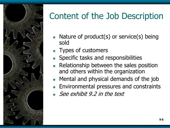 Content of the Job Description