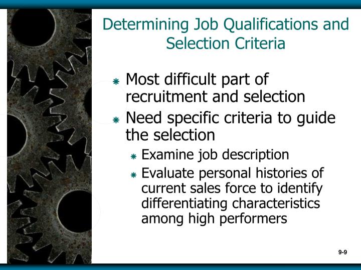 Determining Job Qualifications and Selection Criteria