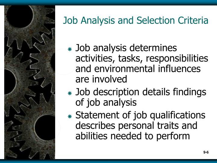 Job Analysis and Selection Criteria