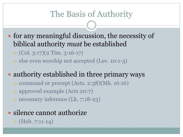 The basis of authority