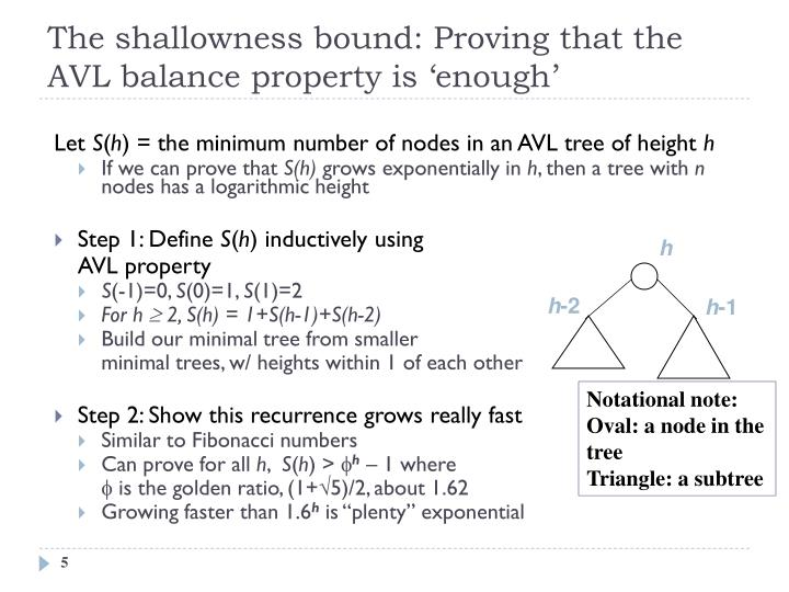 Proving O(log n) depth bound
