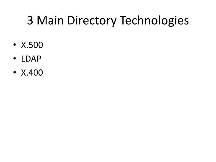 3 Main Directory Technologies
