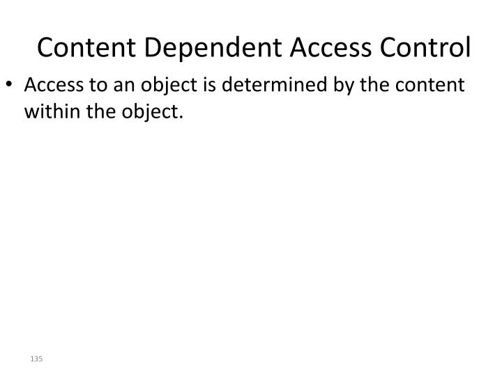 Content Dependent Access Control