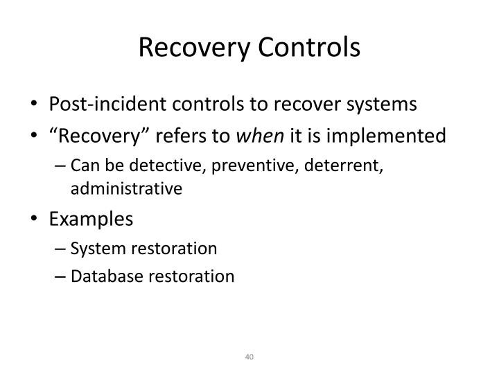 Recovery Controls