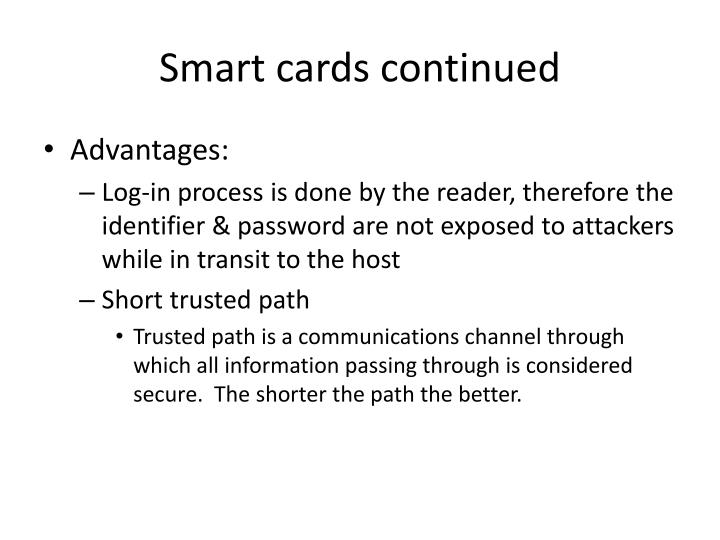 Smart cards continued