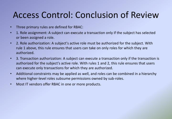 Access Control: Conclusion of Review