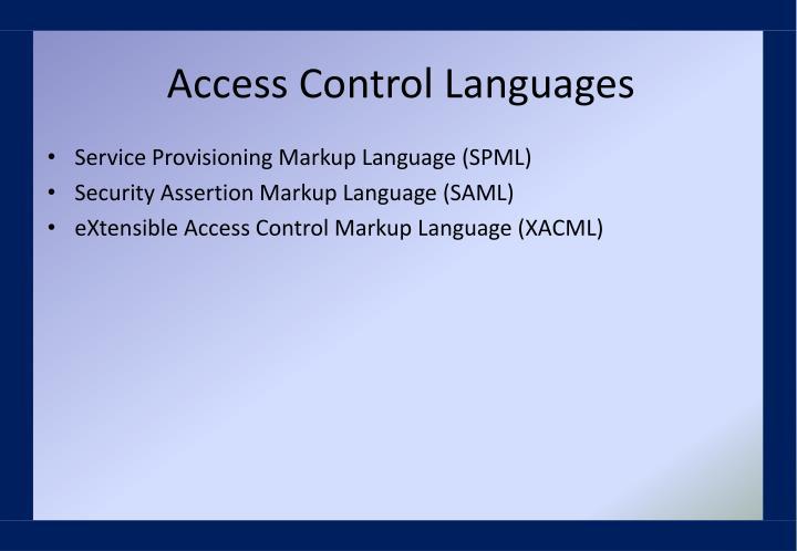 Access Control Languages