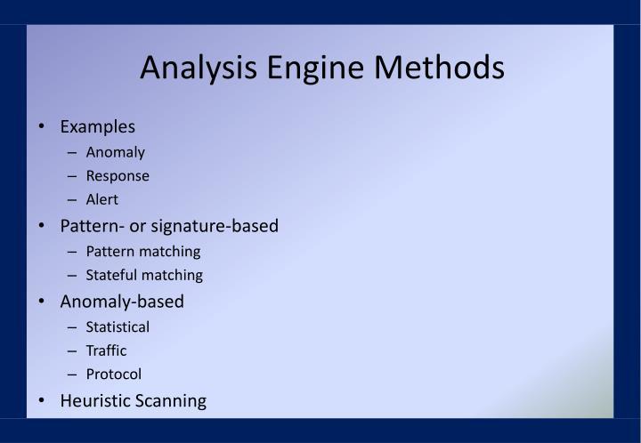 Analysis Engine Methods