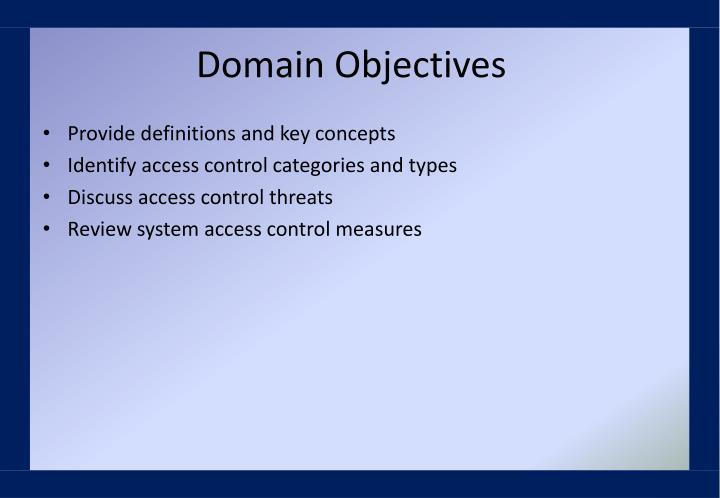 Domain Objectives