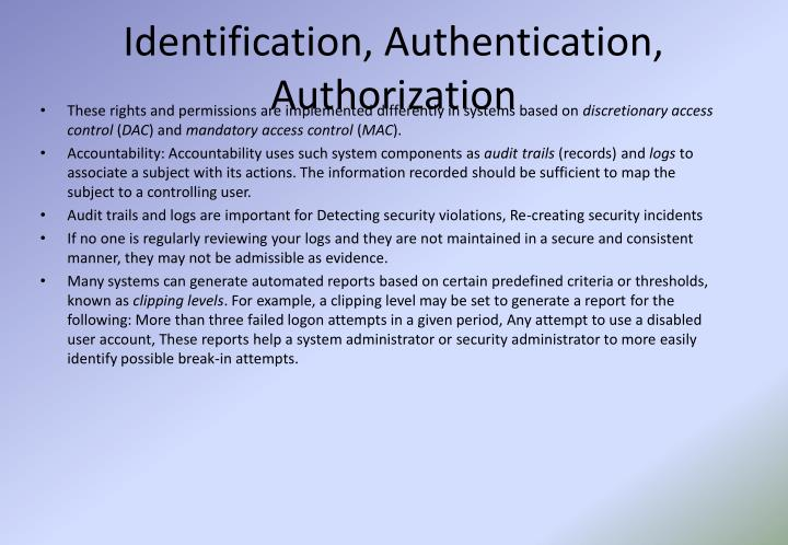 Identification, Authentication, Authorization