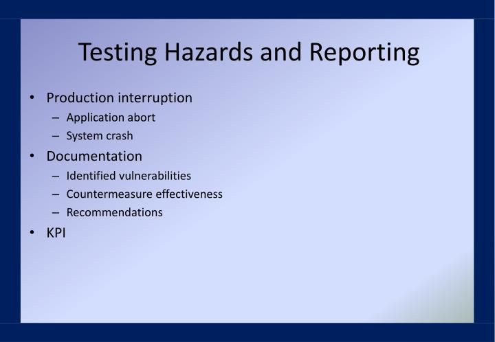 Testing Hazards and Reporting