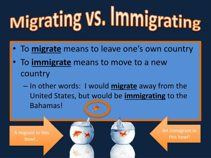 Migrating vs immigrating