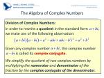the algebra of complex numbers2