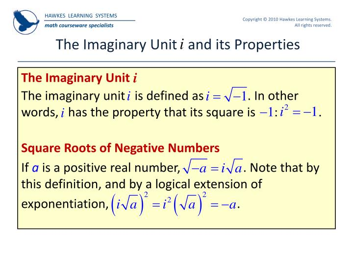 The imaginary unit and its properties