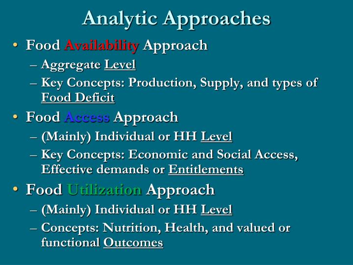 Analytic Approaches