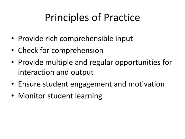 Principles of Practice