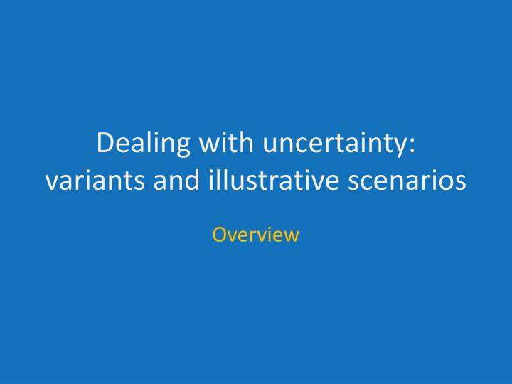 Dealing with uncertainty: variants and illustrative scenarios