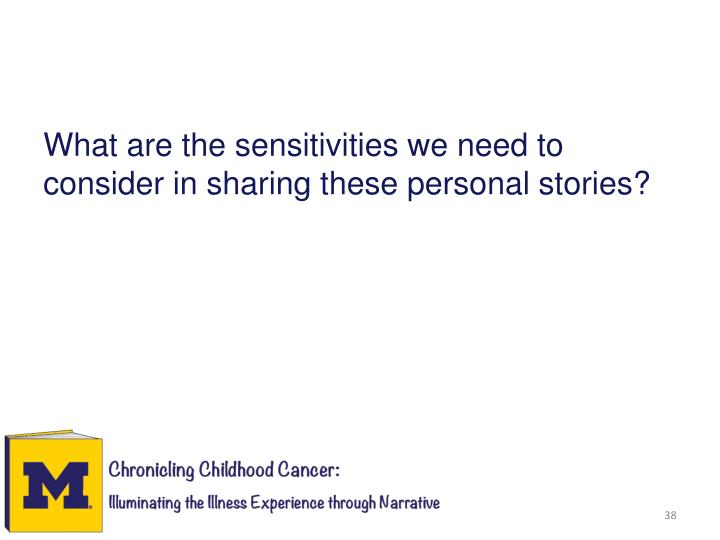 What are the sensitivities we need to consider in sharing these personal stories?