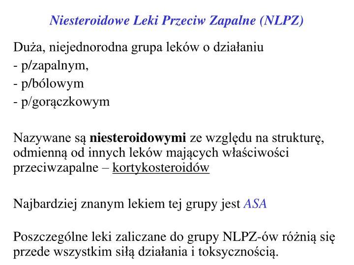 Niesteroidowe Leki Przeciw Zapalne (NLPZ)