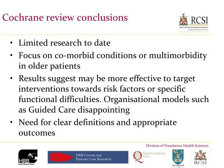 Cochrane review conclusions
