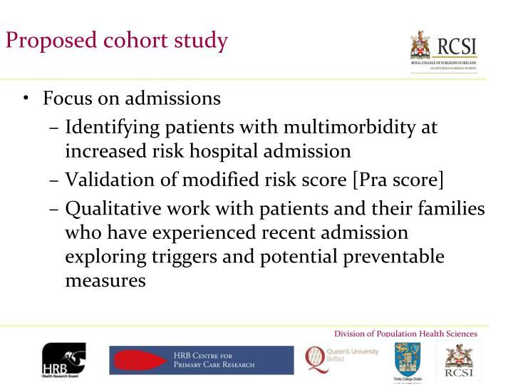 Proposed cohort study