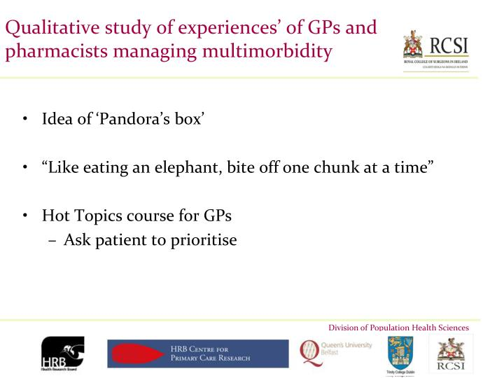 Qualitative study of experiences' of GPs and pharmacists managing