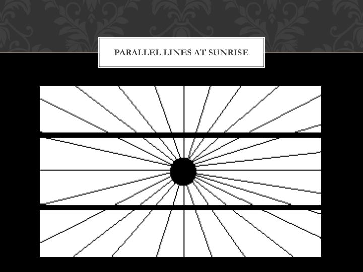 parallel lines at sunrise