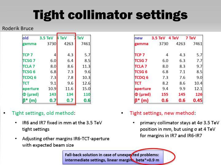 Tight collimator settings