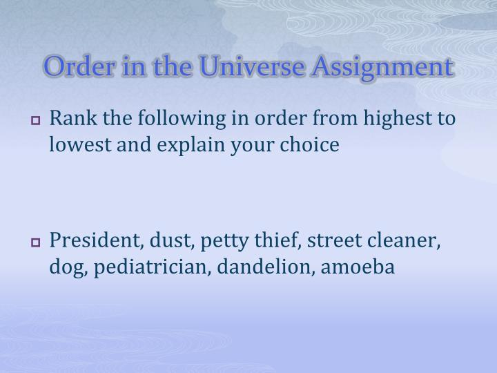 Order in the Universe Assignment