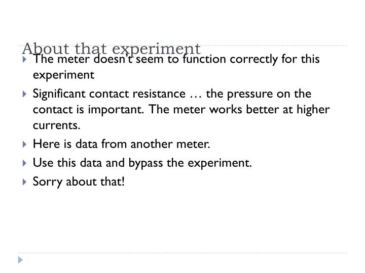 About that experiment