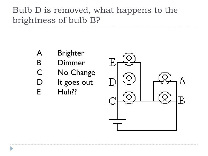Bulb D is removed, what happens to the brightness of bulb B?