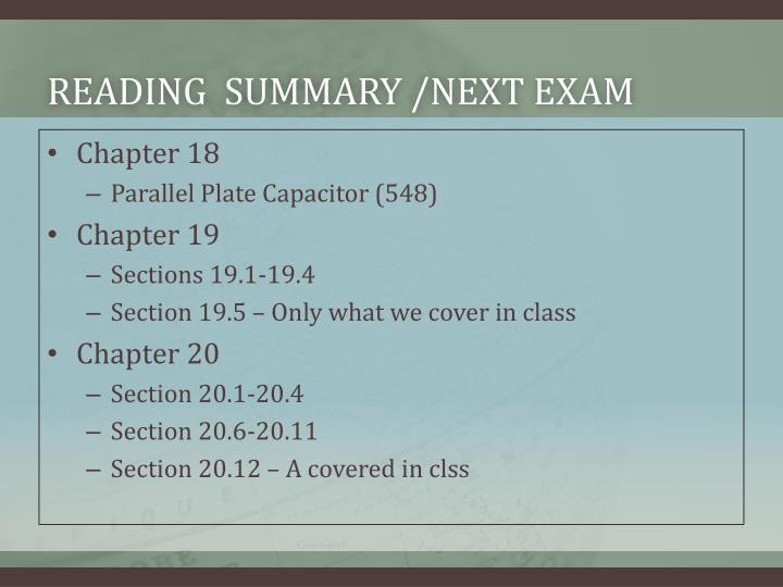 Reading summary next exam