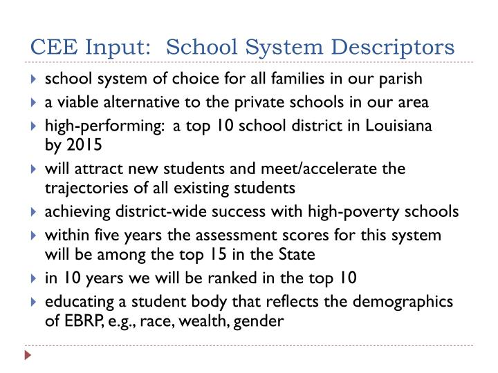 CEE Input:  School System Descriptors