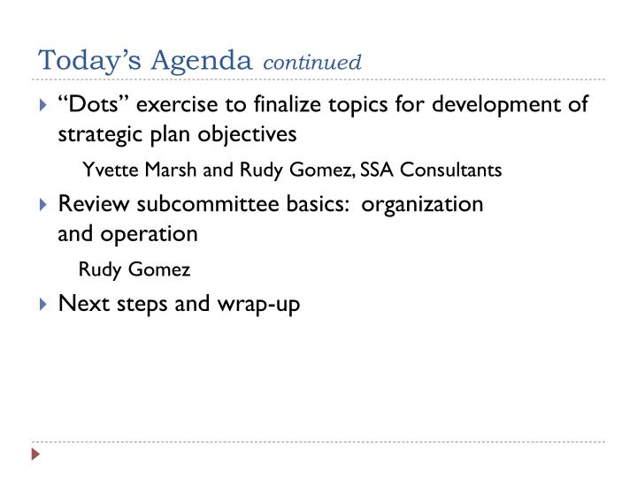 Today s agenda continued