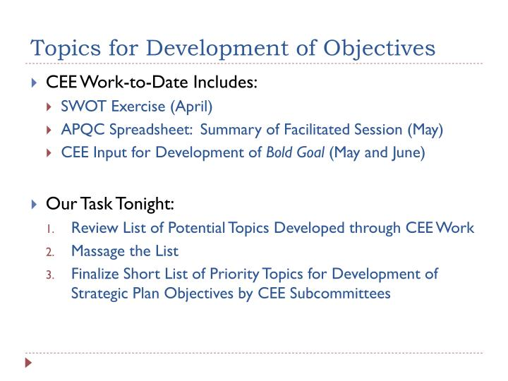Topics for Development of Objectives