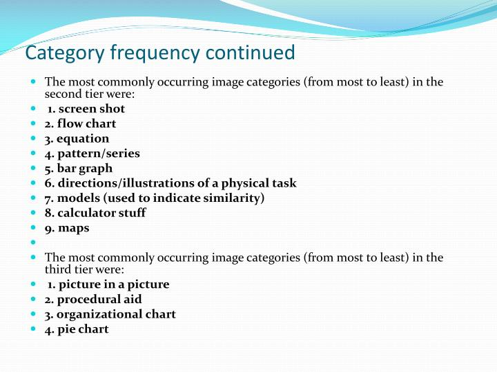 Category frequency continued