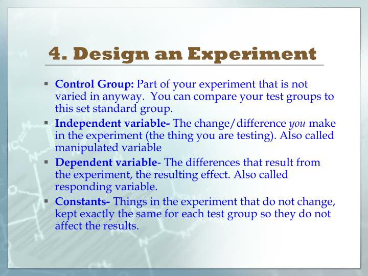 4. Design an Experiment