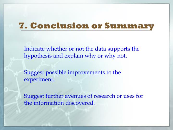 7. Conclusion or Summary