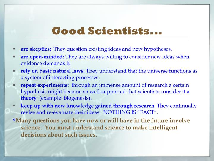 Good Scientists...