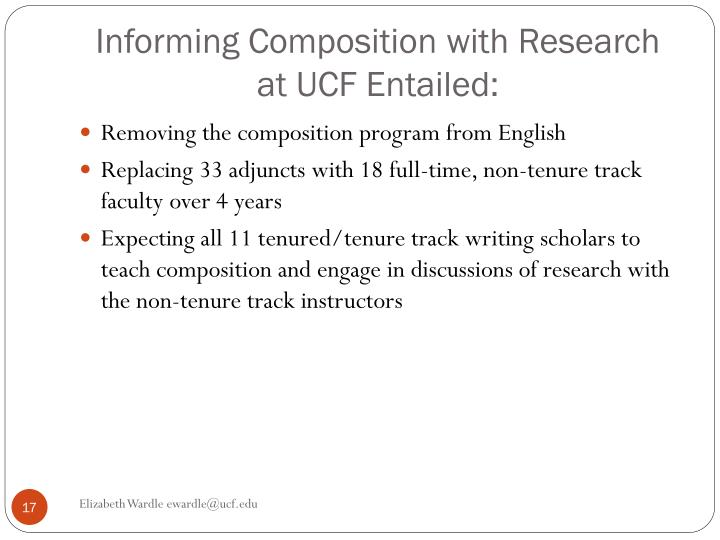 Informing Composition with Research at UCF Entailed: