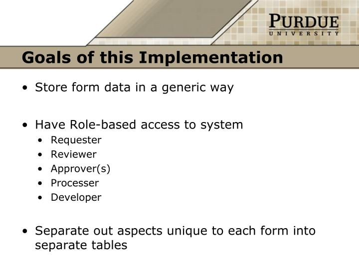Goals of this Implementation