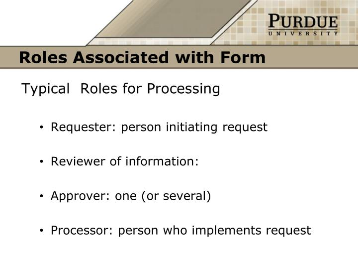 Roles Associated with Form