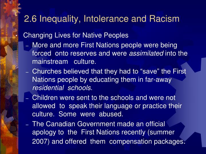 2.6 Inequality, Intolerance and Racism