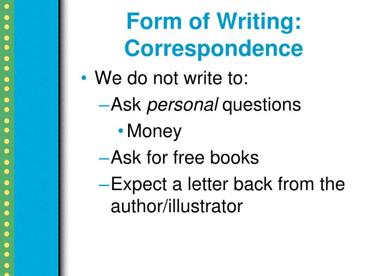 Form of Writing: Correspondence